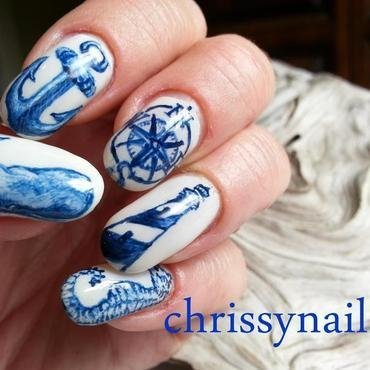 Scrimshaw inspired Nautical nail art nail art by Chrissy