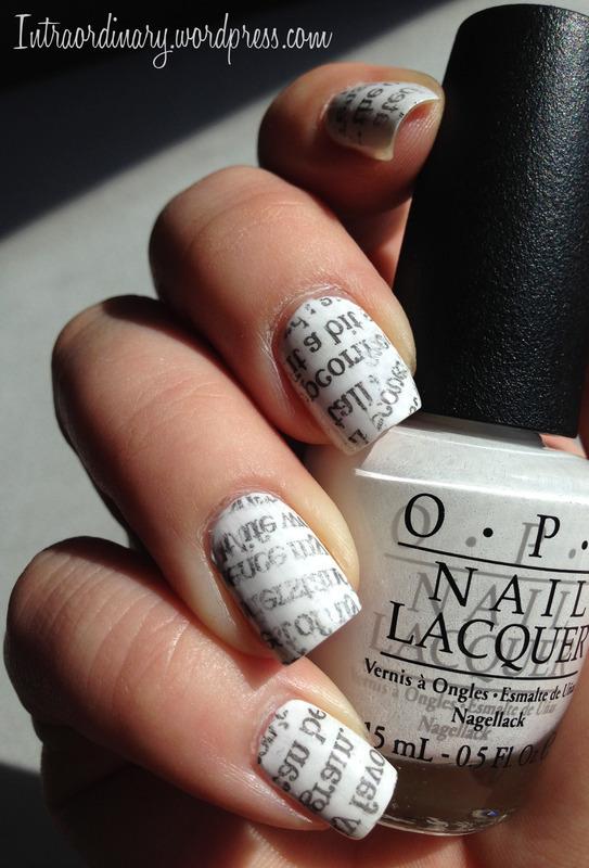Newspaper Nails nail art by Katie