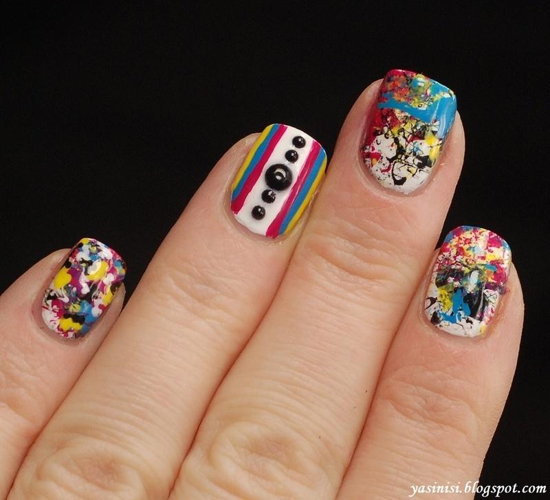 Splatter manicure nail art by Yasinisi