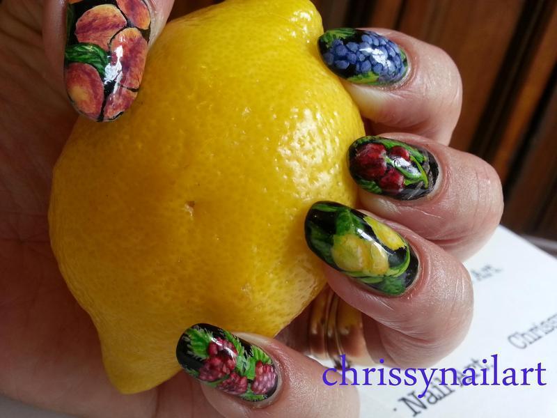 Summer fruits nail art by Chrissy