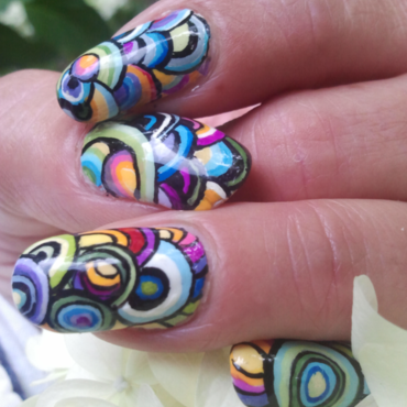Colorful abstract circle design for National Nail Art Day. nail art by Chrissy