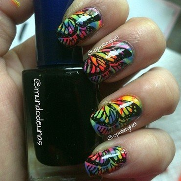 rainbow butterfly nail art by opal rodabaugh