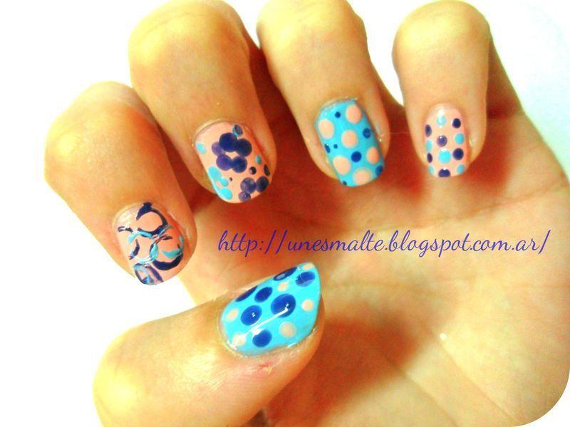 mix rosa y celeste nail art by mariana