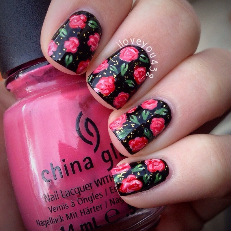 Dark Roses nail art by Taylor