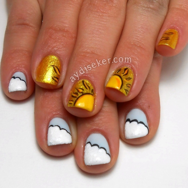 Sun and Clouds nail art by Aydi Seker