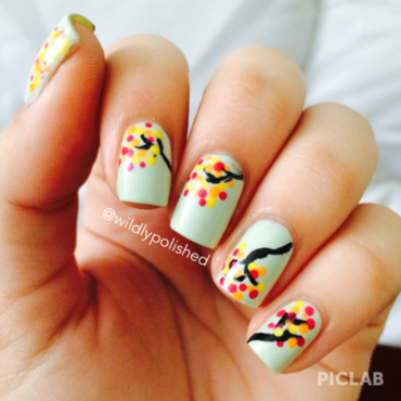 Colorful Trees nail art by Alejandra Sifontes