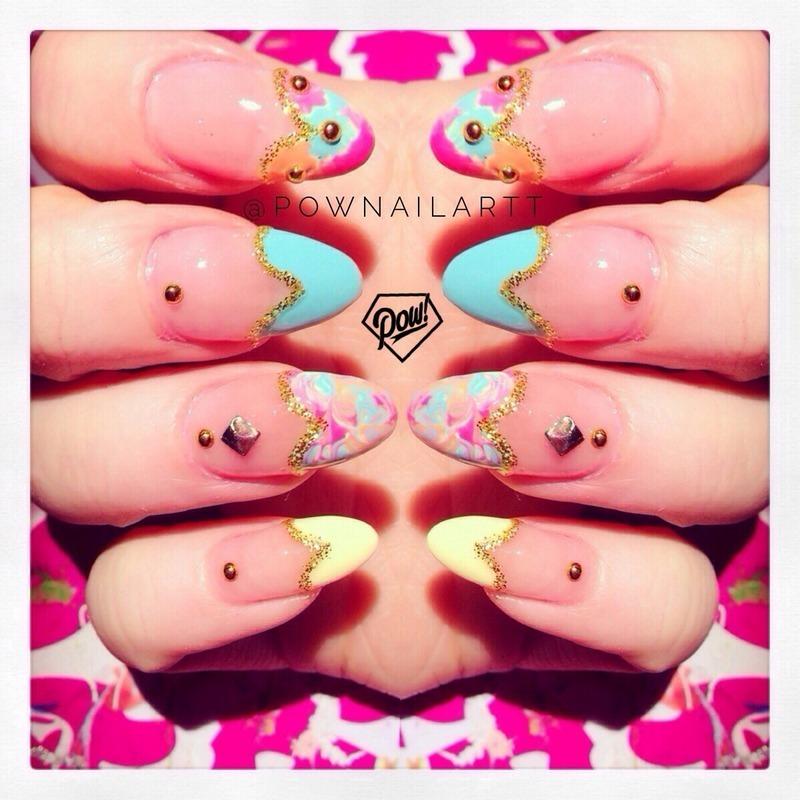 Heart tips.  nail art by Pownailart