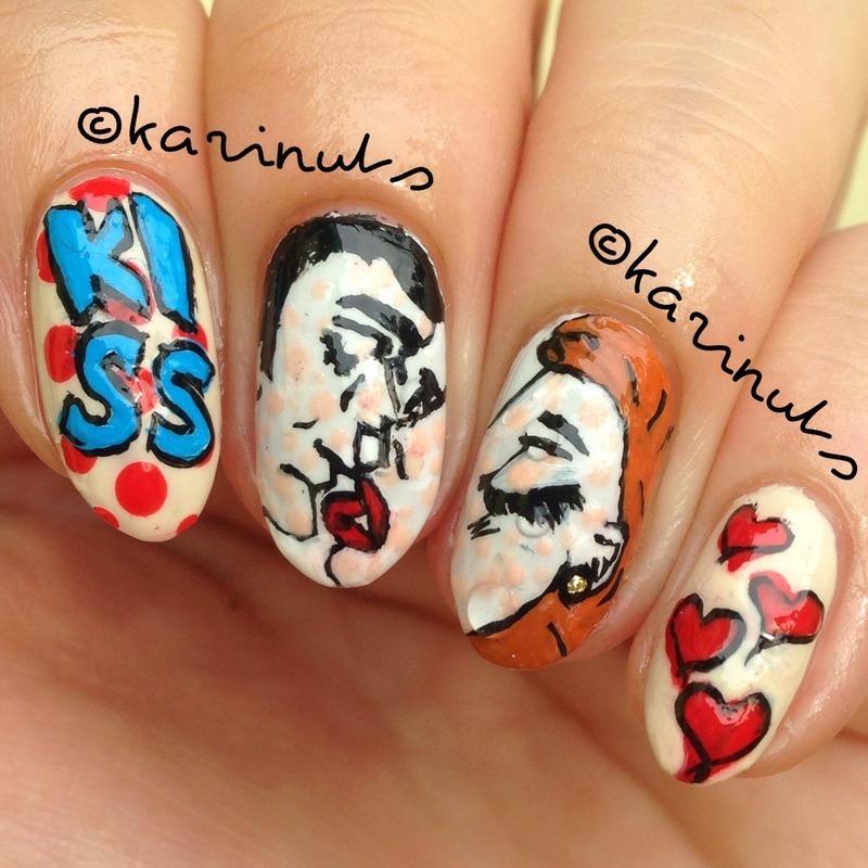 Pop art kiss nail art by Karina Mahardi