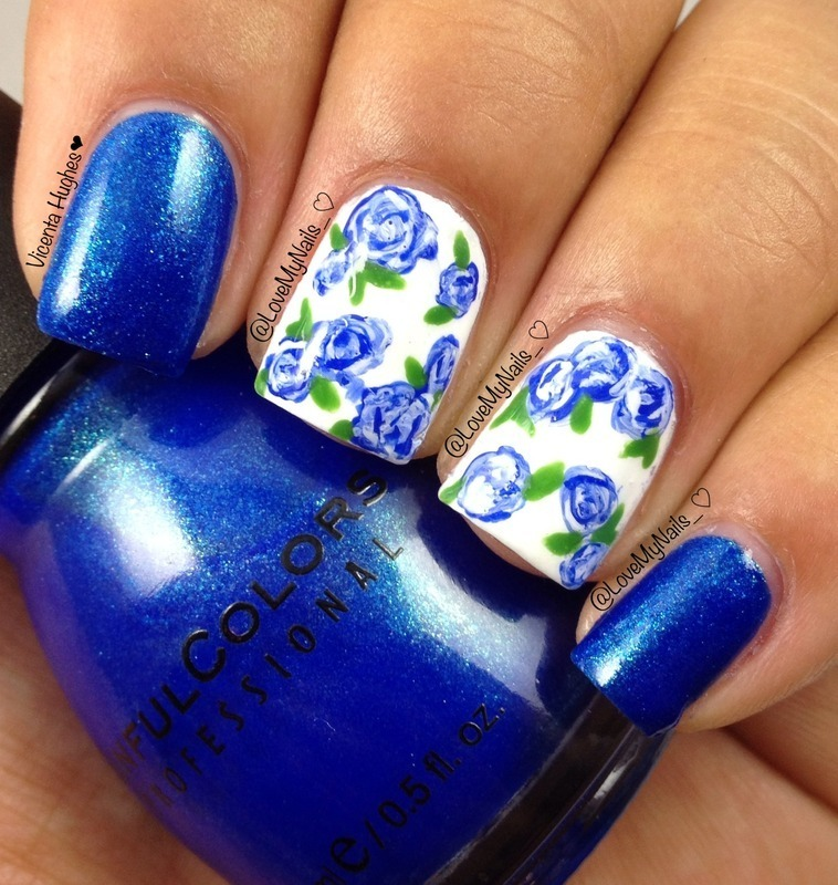 Blue Rose Nails nail art by Vicenta