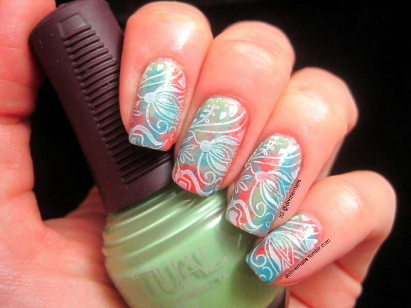 Watercolor Stamping nail art by Donner