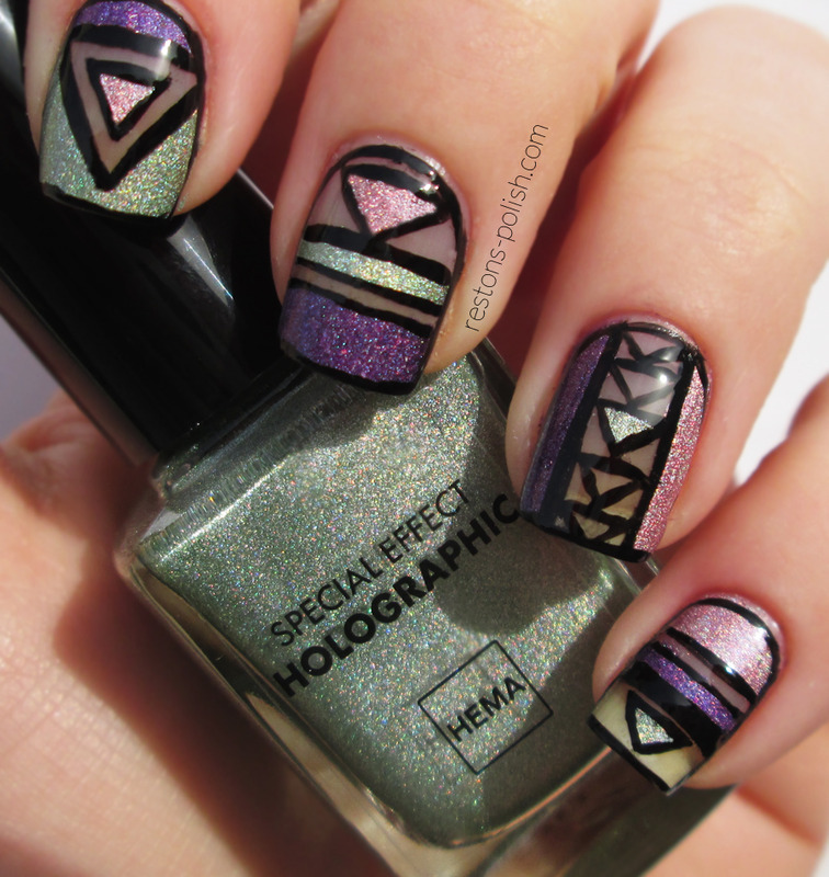 Holographic nail art by Restons polish