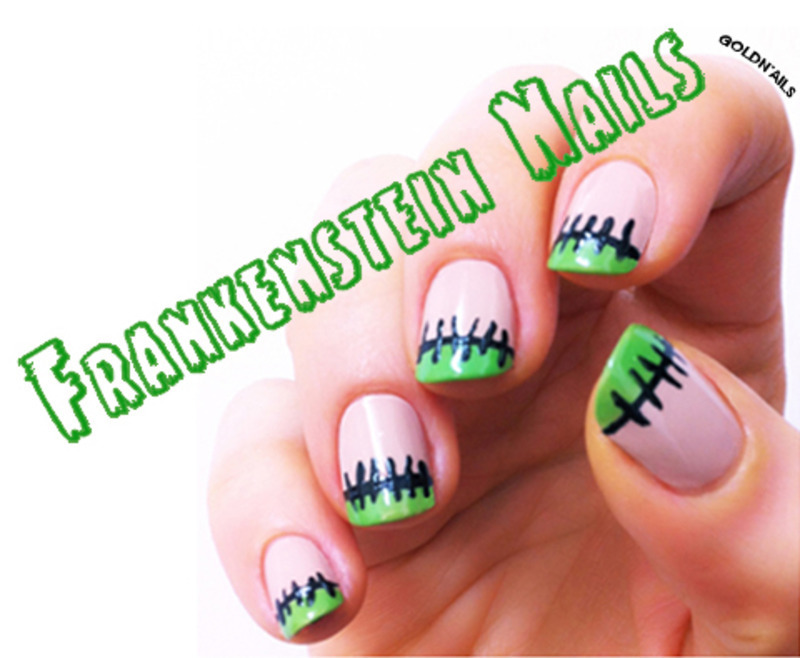 Frankenstein Nails nail art by Goldi