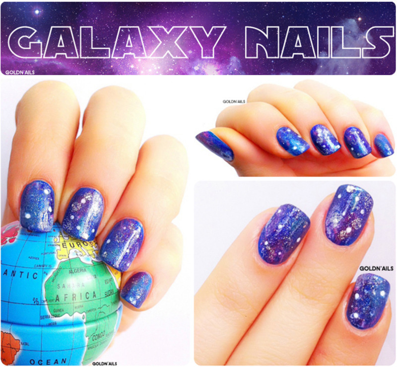 Galaxy Nails nail art by Goldi