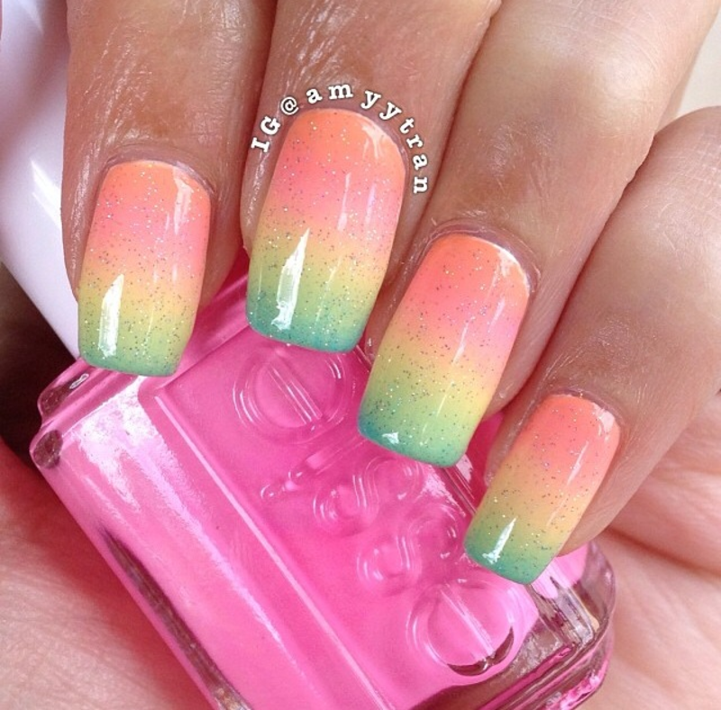 Rainbow gradient  nail art by Amy