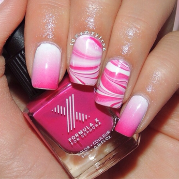 Watermarble and Gradient nail art by Amy