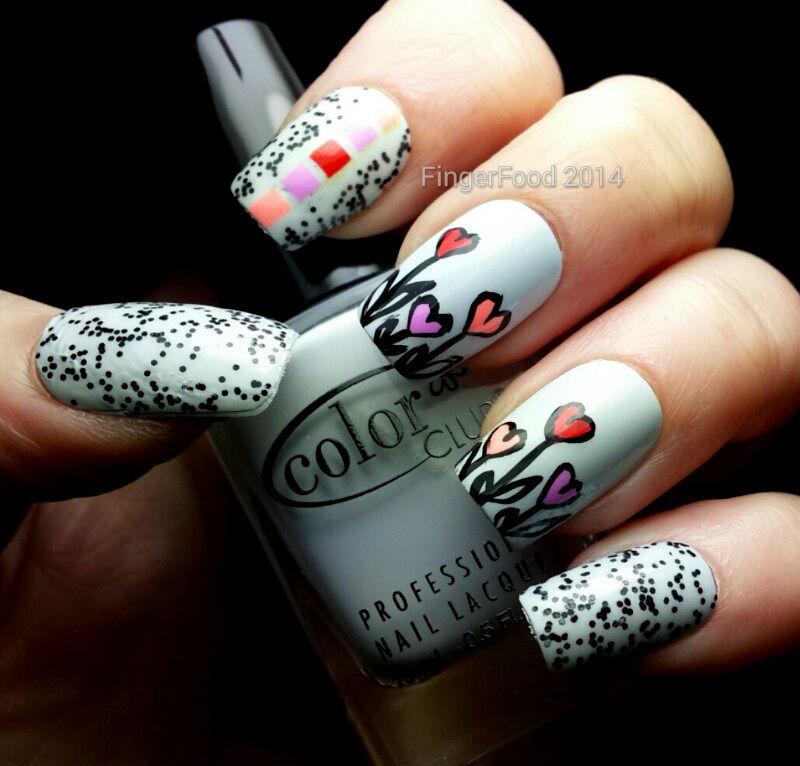 Heart Skittlette nail art by Sam