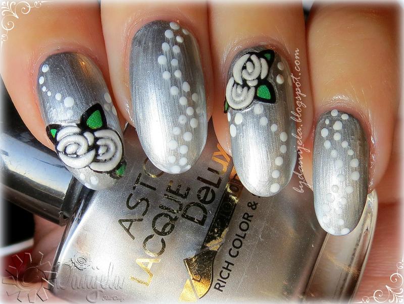 Metalic silver manicure with flowers nail art by bydanijela