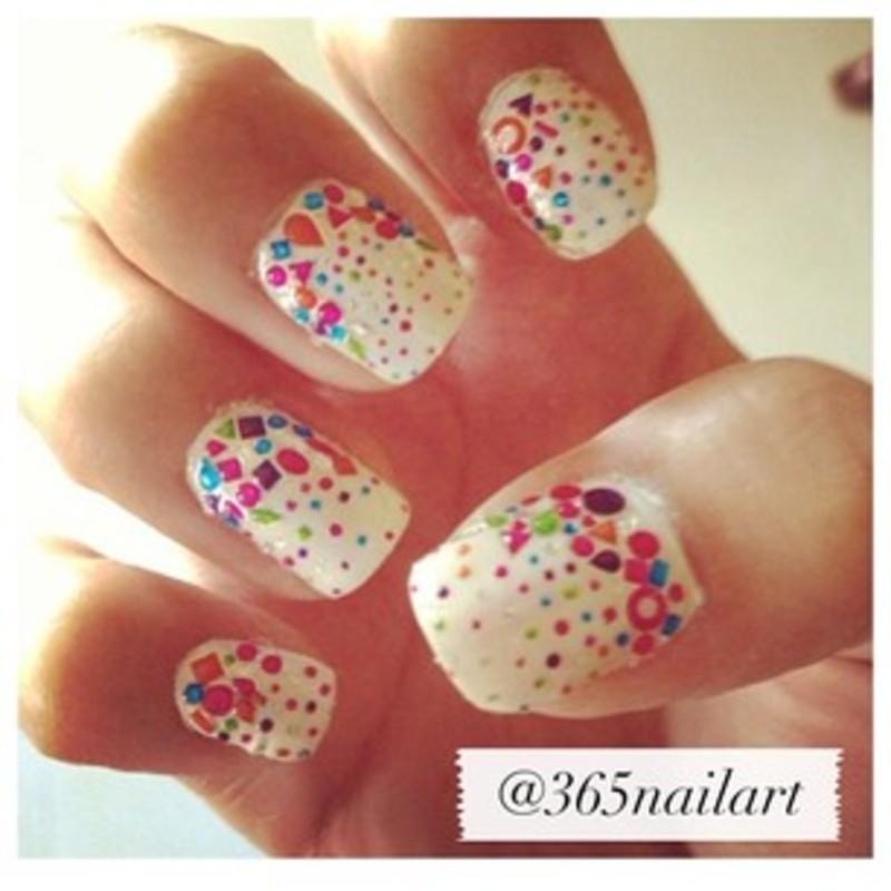 Confetti nail art by Janet