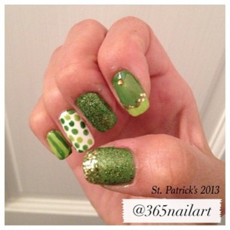St. Patricks  nail art by Janet