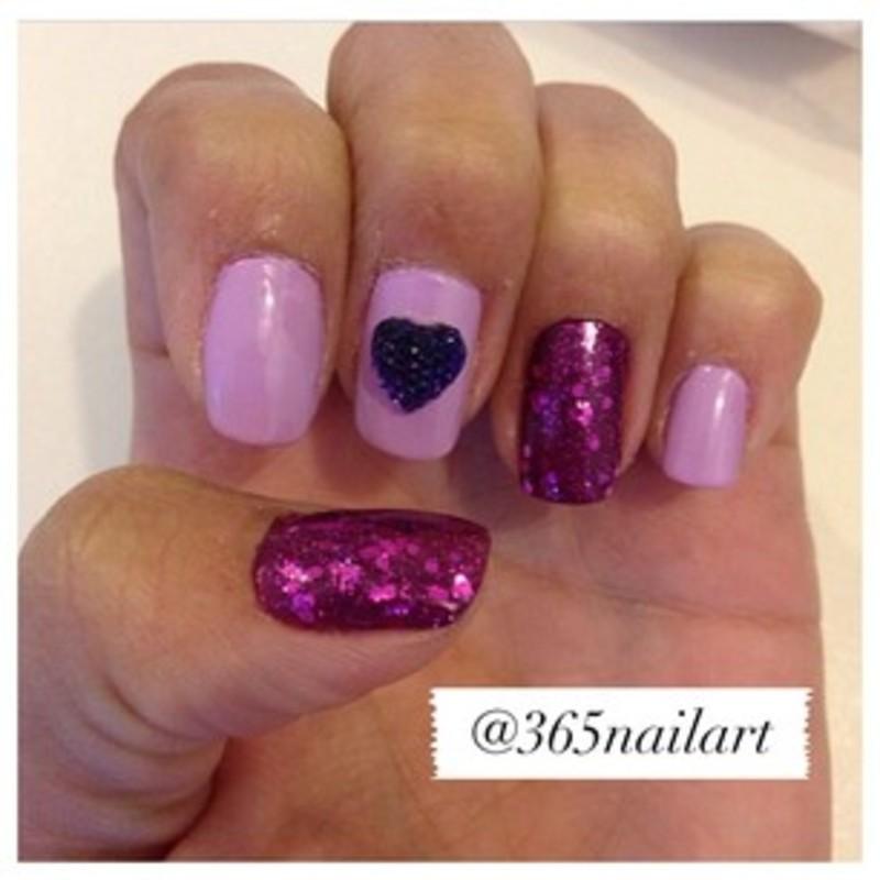 Purple Love  nail art by Janet