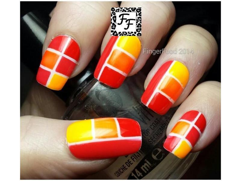 Orange Colour Block nail art by Sam