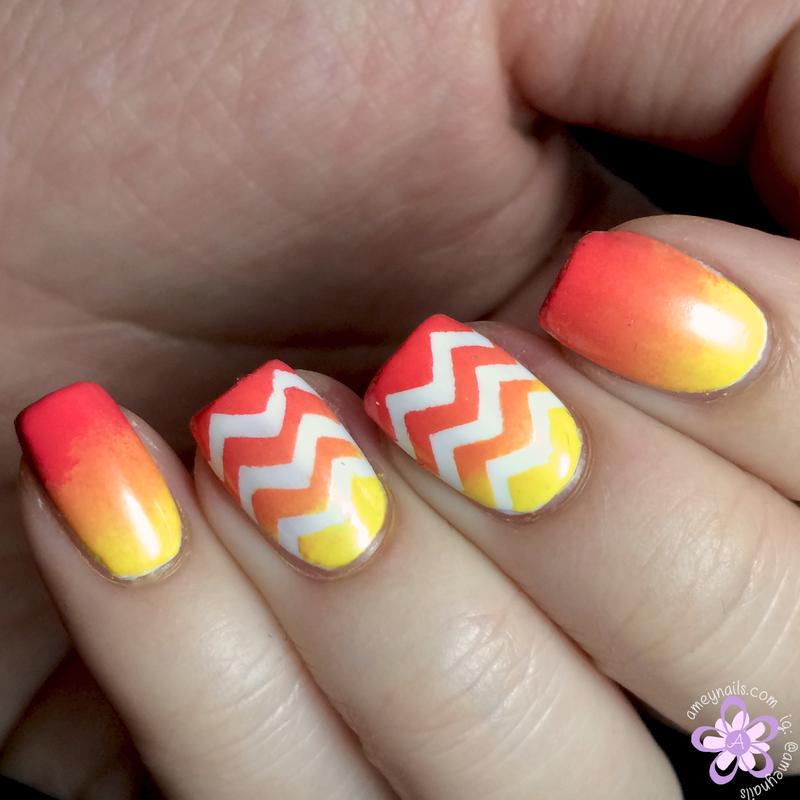 Gradient chevron nail art by Amey