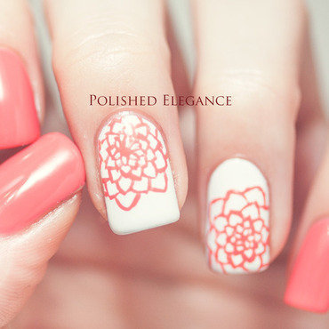 Coral doodle flowers nail art by Lisa