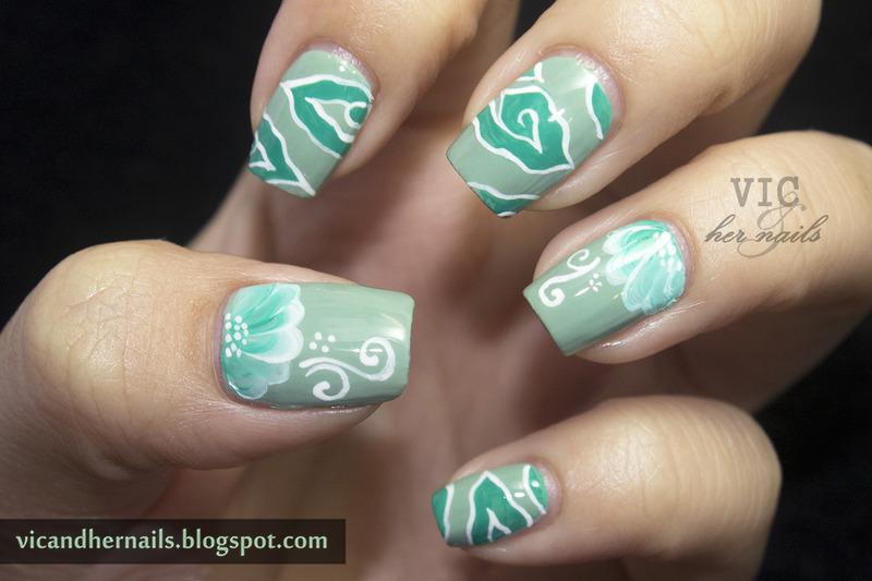 Mega Mendung Batik Nails and One Stroke Flower nail art by Victoria Oen