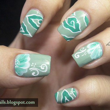 Mega Mendung Batik Nails and One Stroke Flower nail art by Victoria Oen