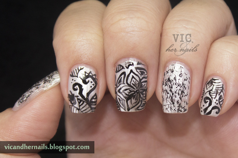 Doodles nail art by Victoria Oen