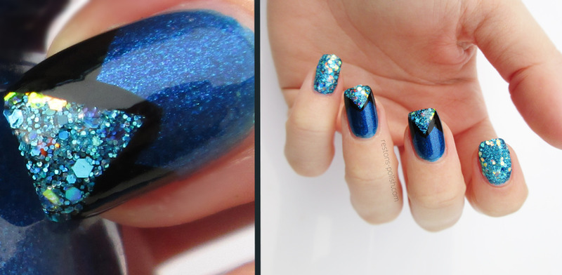 Blue and glitter nail art by Restons polish