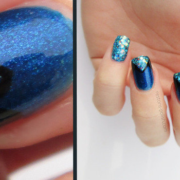 Blue and glitter nail art by Restons polish