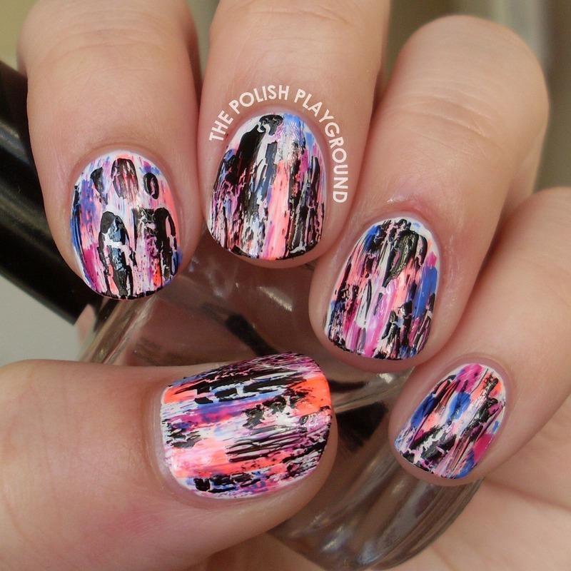 Grungy Neon Distressed Nail Art nail art by Lisa N