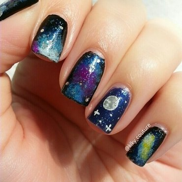 Galaxy Nails nail art by Ximena Echenique