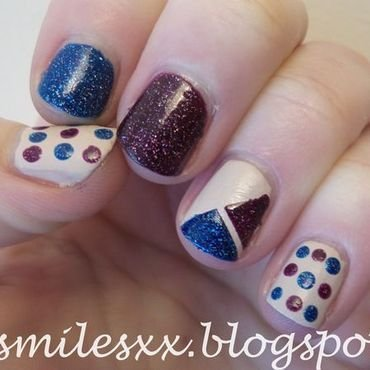 Geometric, Spots and Sparkle nail art by Sarah Clarke