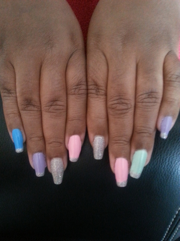 Ice cream w/sprinkles nail art by LisaB