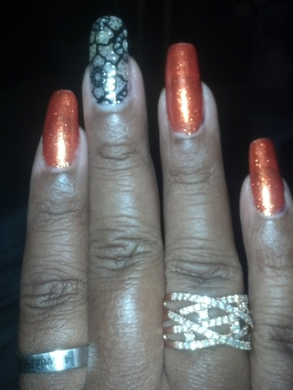 Orange treat nail art by LisaB