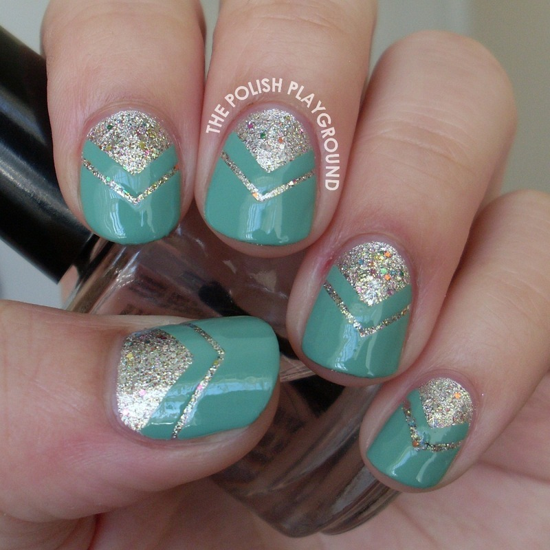 Glitter and Mint Double Chevron Moon Mani nail art by Lisa N