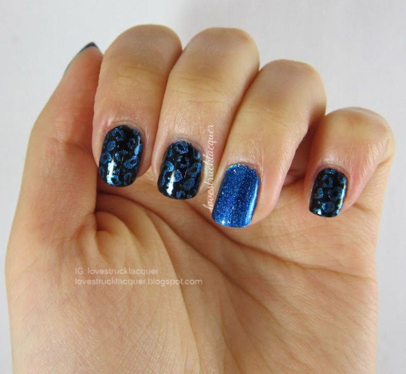 Blue leopard print on black inspired by F21 skirt nail art by Stephanie L