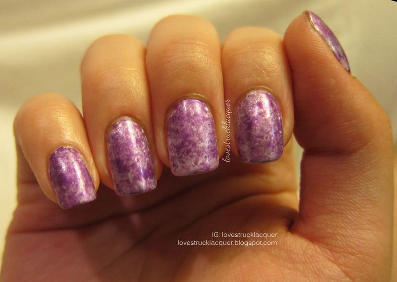 Purple Saran Wrap Mani nail art by Stephanie L