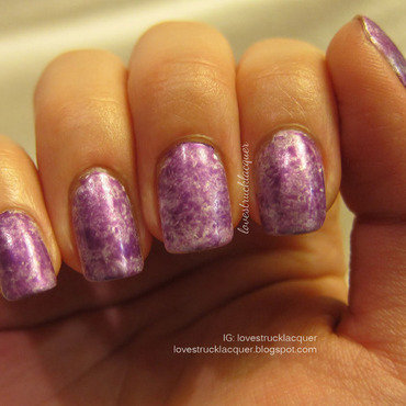 Purple Saran Wrap Mani nail art by Stephanie L