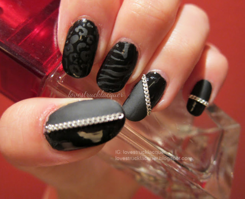 Black matte/glossy nail art nail art by Stephanie L - Nailpolis ...