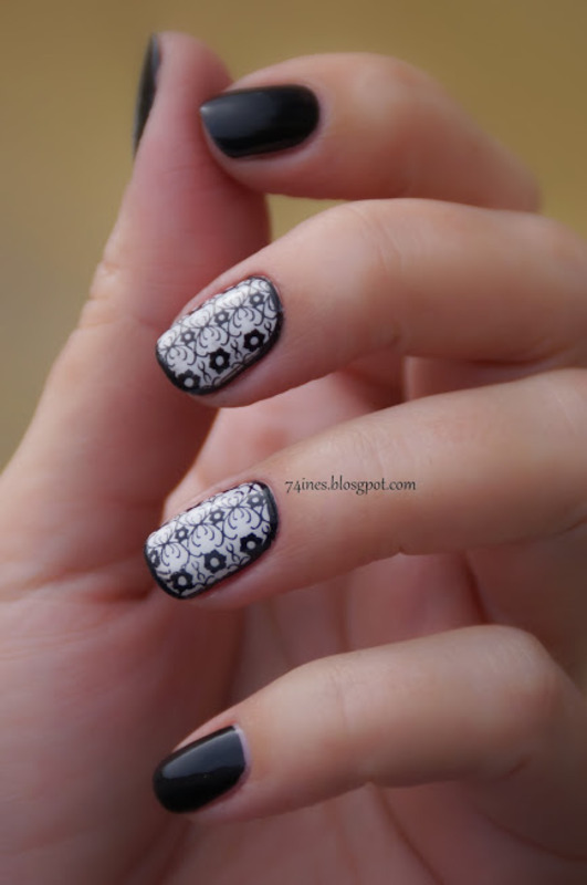 black&white nail art by 74ines