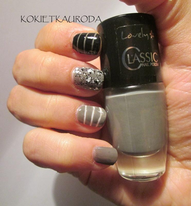 Dots and stripes nail art by Koralina