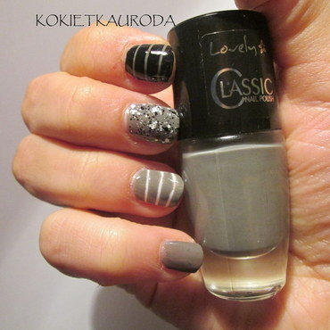 Dots and stripes nail art by Koralina