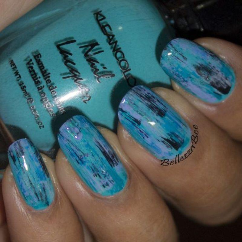 Blue Brush Stroke nail art by Naomi Hing