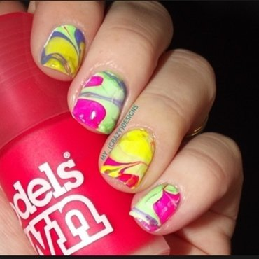 Water marble mix nail art by Mycrazydesigns