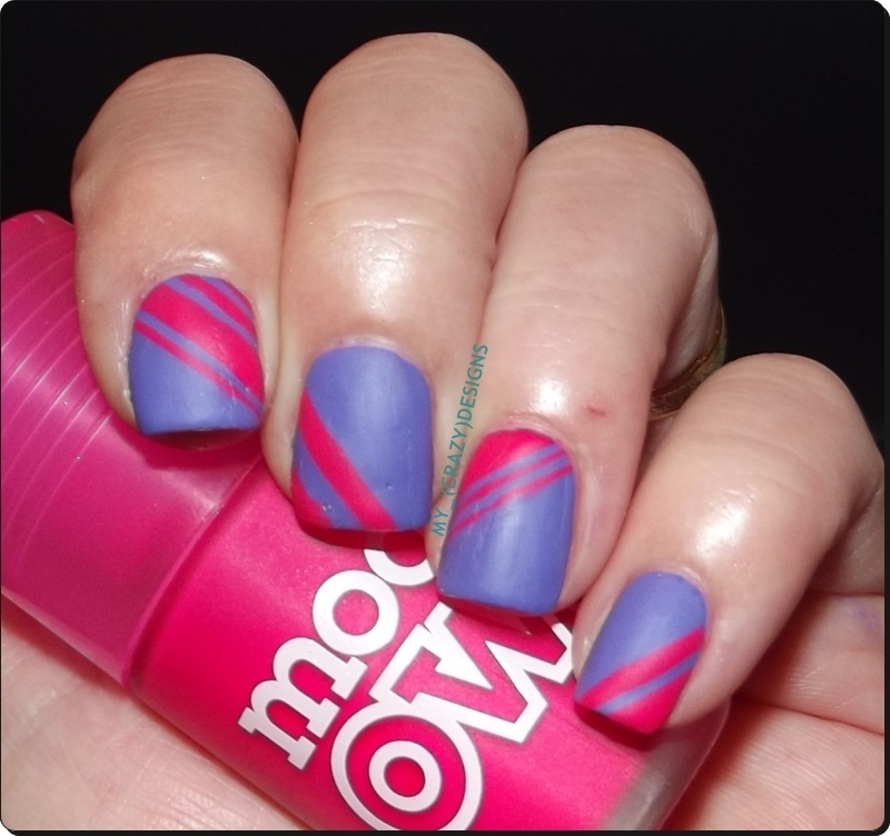 Striping tape nails (matte) nail art by Mycrazydesigns