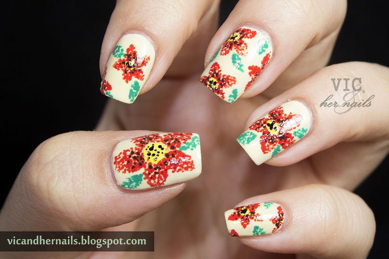 Floral Pointilism nail art by Victoria Oen