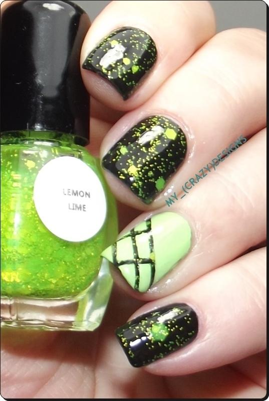 Lime glitter nails nail art by Mycrazydesigns
